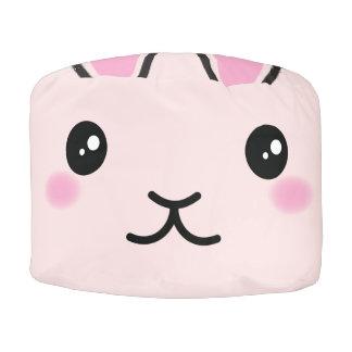 Cute, kawaii, pink bunny design pouf