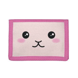 Cute, Kawaii, Pink Bunny Design Trifold Wallet