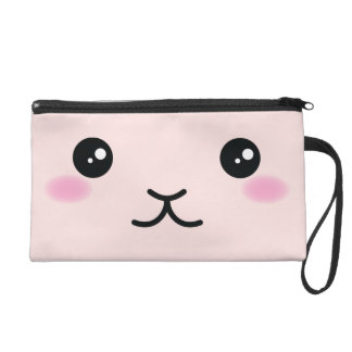 Cute, kawaii, pink bunny design wristlet