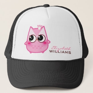 Cute kawaii pink owl - Personalized Trucker Hat