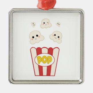 Cute Kawaii Popcorn Metal Ornament