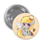 Cute kawaii postman pony with letters and cupcakes 3 cm round badge