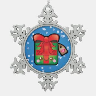 Cute Kawaii Present Christmas Tree Decoration Pewter Snowflake Decoration