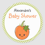 Cute Kawaii Pumpkin Baby Shower Round Stickers