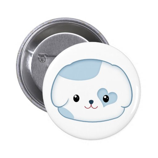 Cute Kawaii Puppy Dog Face in Blue and White Pins