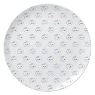 "Cute Kawaii Puppy Dog Face ""Polka Dot"" Pattern Plates"
