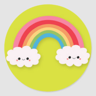 Cute Kawaii Rainbow and Clouds on Green Stickers