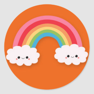Cute Kawaii Rainbow and Clouds on Orange Stickers