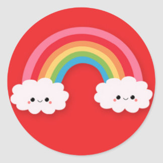 Cute Kawaii Rainbow and Clouds on Red Round Stickers