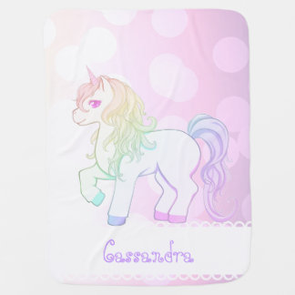 Cute kawaii rainbow colored unicorn pony baby blanket