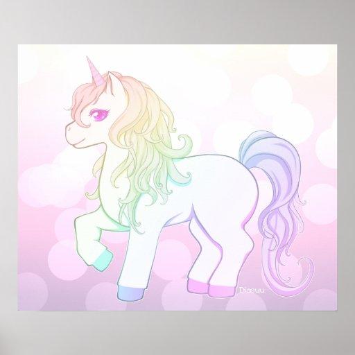 Cute kawaii rainbow coloured unicorn pony poster | Zazzle