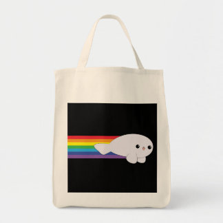 Cute Kawaii Rainbow Rocket Baby Seal Grocery Tote