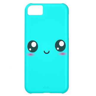 Cute Kawaii Smiley - blue - customizable color Case For iPhone 5C