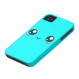 Cute Kawaii Smiley - blue - customizable color iPhone 4 Case-Mate Case