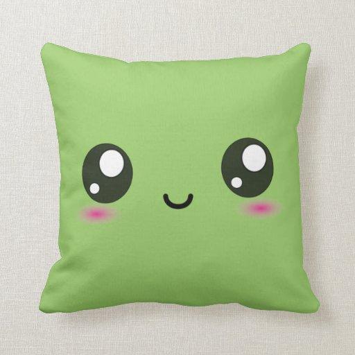 Cute Kawaii Smiley Cushion - Green Pillows