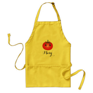 Cute Kawaii Smiling Happy Tomato Monogram Standard Apron