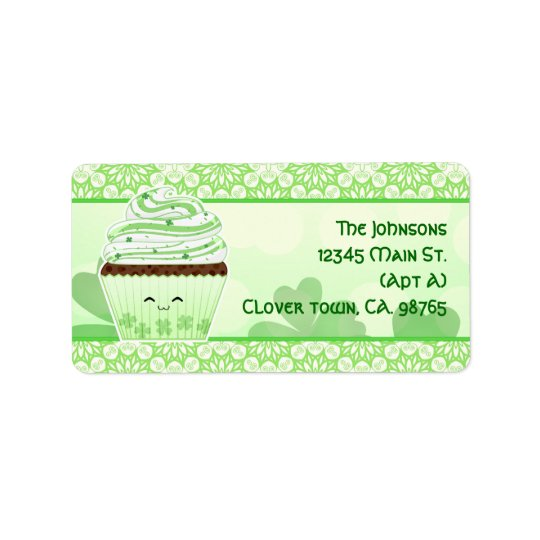 Cute kawaii St Patricks day cupcake Label