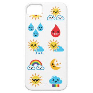 Cute Kawaii sun, rainbow, moon, rain and cloud iPhone 5 Case