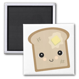 cute kawaii toast square magnet