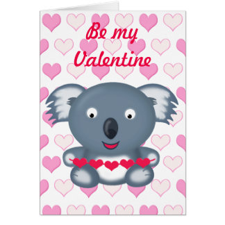Cute Kawaii Valentine's Koala Bear with Hearts Greeting Card