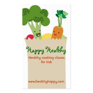 Cute kawaii vegetables grocery bag kids cooking pack of standard business cards