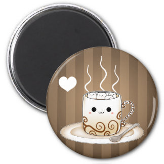 Cute kawaii warm cocoa drink 6 cm round magnet