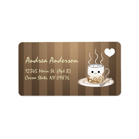 Cute kawaii warm cocoa drink label