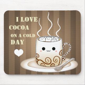 Cute kawaii warm cocoa drink mousepads