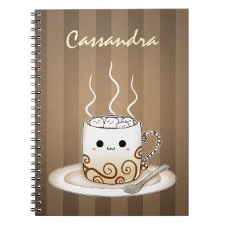 Cute kawaii warm cocoa drink notebook