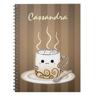 Cute kawaii warm cocoa drink spiral notebook