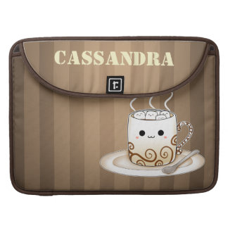 Cute kawaii warm cocoa drink with name sleeve for MacBook pro