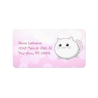 Cute kawaii white kitty cat address label