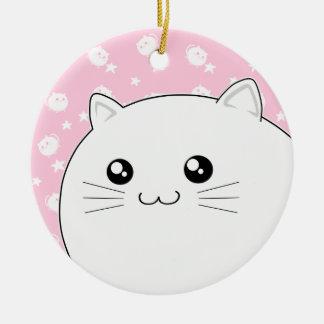 Cute Kawaii white kitty cat Round Ceramic Decoration