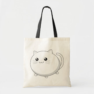 Cute kawaii white kitty cat tote bag