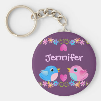 Cute Keychain with Baby birds, hearts and Name