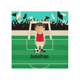 Cute kid soccer player wood print