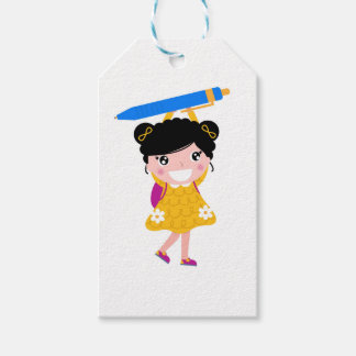 Cute kid with pencil gift tags