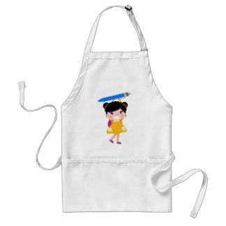 Cute kid with pencil standard apron