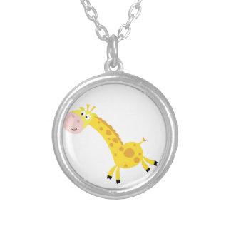 Cute kids 3  giraffes silver plated necklace