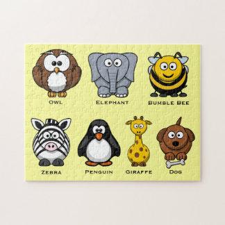 Cute Kids ABC's Cartoon Assorted Animals Puzzle