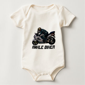 Cute Kid's Ankle Biker Motorbiker design Baby Bodysuit