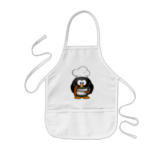 Cute Kids Apron With Chef penguin Print.