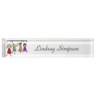Cute Kids Cartoon Holding Speech Words Nameplate