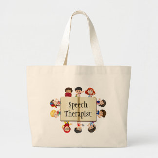 Cute Kids Cartoon Speech Therapist Book Large Tote Bag