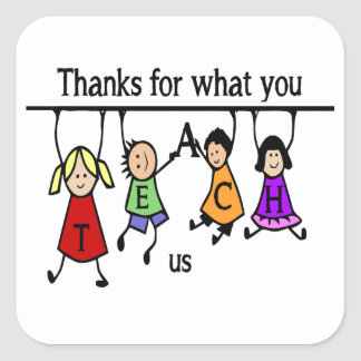 Cute Kids Cartoon Spelling Teach for Teachers Square Sticker