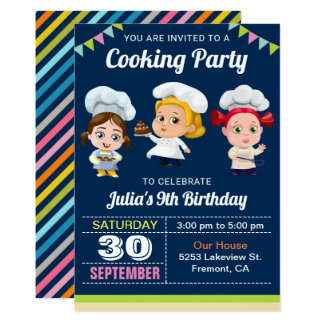 Cute Kids Cooking Baking Birthday Party Invitation