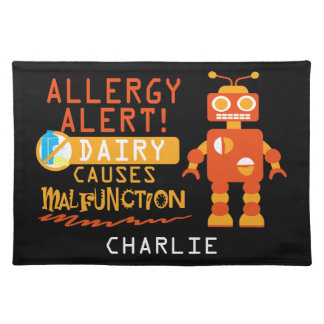 Cute Kids Dairy Allergy Alert Robot Personalized Placemat