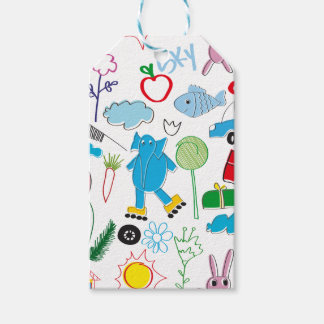 Cute Kids Doodles Pattern Party Supplies Gift Tags