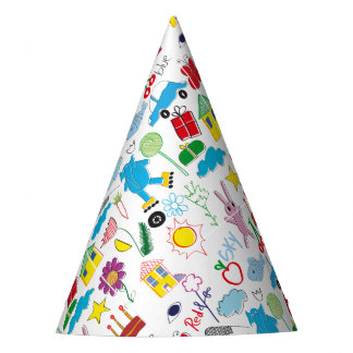 Cute Kids Doodles Pattern Party Supplies Party Hat