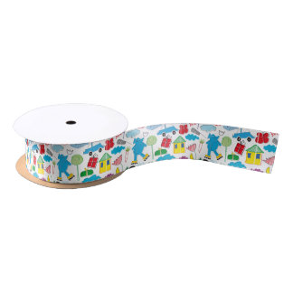 Cute Kids Doodles Pattern Party Supplies Satin Ribbon